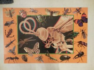"BUGS 3-D Giant Floor Puzzle & Glasses Frank Schaffer  24"" X 36""  48 Large Pieces"