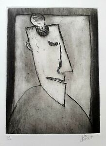 """Pro Hart Original Etching. """"Sleeping Miner"""". Signed by Pro Hart & Numbered 5/100"""