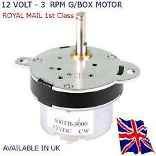 12V DC Ad Alta Coppia Motore Elettrico/Scatola Del Cambio 3 RPM-tutti i progetti disponibili nel Regno Unito