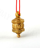 BLESSED GILT TIBETAN AMULET PENDANT BUDDHIST: TURNABLE PRAYER WHEEL & SUTRA