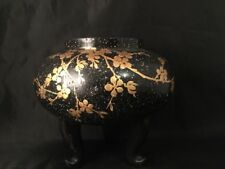 Vintage Antique Lacquered Black Bowl With Mother Of Pearl Chinese Japanese