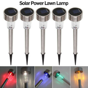 LED Solar Light Auto ON/OFF Stainless Steel Lawn Lamp Garden Decor Waterproof