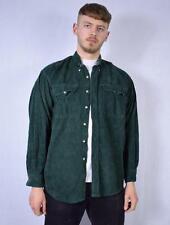 Large Drive Dark Green 90's Vintage Grandad Collar Corduroy Shirt