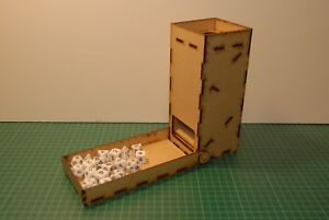 Dice Tower with folding catch tray, laser cut MDF. Designed by gamers for gamers