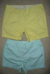 Lot 2 J.Crew Yellow Chino Ann Taylor LOFT aqua trouser short shorts Size 2 Women