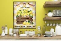 11x14 Lemon Crate Kitchen Wall Canvas Print