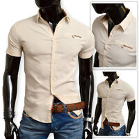 Beige Light Men's Linen Shirt Short Sleeve Classic Collar Brown Finish Slim Fit