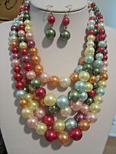 Five Layers Multi Color Faux Pearl Gradual Chunky Necklace Earring