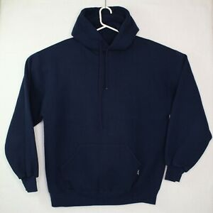 Vintage 90s NOS Russell Athletic Tri Blend Navy Hoodie Made In USA Blank Size L