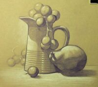 Still Life Drawing on Toned Paper - Original Colored Pencil Drawing Artwork