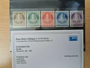 Berlin 101 - 105 postfrisch mit Befund Schlegel ohne Signatur
