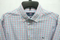 Mens VINEYARD VINES Whale Shirt SMALL Pink Blue Gingham Plaid Check Long Sleeve