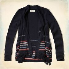 NWT Hollister Women's Fringe blanket cardigan sweater Navy Medium M new