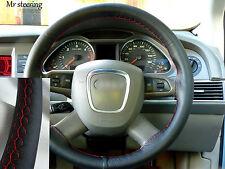 Per Land Rover Freelander Mk2 Nero Vera Pelle Volante Copertura rosso cuciture