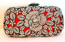 Minaudiere Evening Bag Handbag Crystal Evening Red Bead Flower Silver Silver NEW