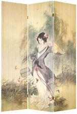 3 Panel Bamboo Maiden in Garden Screen / Room Divider