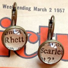 UNIQUE VINTAGE STYLE RHETT SCARLET CLASSIC QUOTE EARRINGS