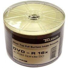 Traxdata  50 x Full Face Silver Printable DVD-R 16x blank Discs 4.7 GB Ritek F01