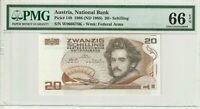 Austria 1986 1988 20 Schilling PMG Certified Banknote UNC 66 EPQ Gem Pick 148