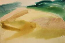 Vintage watercolor impressionist landscape drawing
