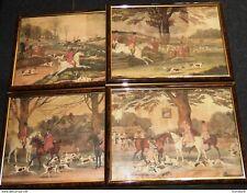 4 CHROMO CHASSE AU RENARD PAUL DESMOND BROWN EQUESTRIAN FOX HUNTING ca 1890