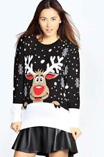 Womens Mens Ladies Unisex Xmas Christmas Jumpers Knitted Reindeer Retro 3D LIGHT