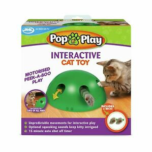 JML Pop 'n' Interactive Play Cat Toy Motorised Peek-A-Boo Play inc. 2 x Mice NEW