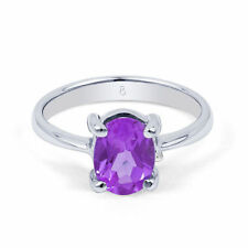 Engagement Solitaire Amethyst Sterling Silver Fine Rings