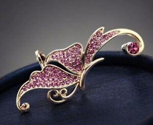 Stunning Gem Pink Gold Rhinestone Crystal Ear cuff Clip Dragonfly With Gift Bag