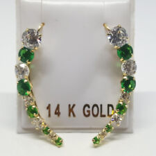 14K solid yellow gold curvy Hook 30mm natural Emerald/White Topaz earrings