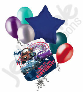 7 pc Cars Action Packed Happy Birthday Balloon Bouquet Party Decoration Mater