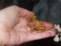 OOAK 1:12 SHAR PEI dog realistic miniature handmade dollhouse handsculpted IGMA