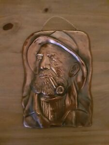 Wall Plaque Raised Metal Man With Beard Hat Pipe