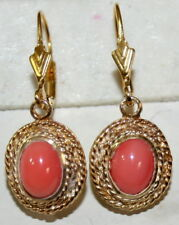 ANTIQUE REAL PINK CORAL LOVE KNOT SILVER GOLD PLATED PRETTY FINE DANGLE EARRINGS
