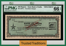 TT ND (1977) STATE BANK OF INDIA TRAVELLERS CHEQUE 250 RUPEES SPECIMEN PMG 66Q!