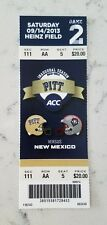 Pittsburgh Panthers New Mexico Football Full Ticket 9/14 2013 Conner Steelers