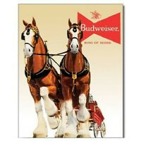 Budweiser Bud Beer Clydesdale Team Vintage Retro Style Decor Metal Tin Sign New