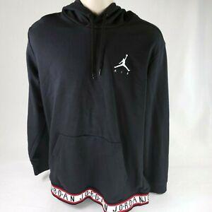 Vintage Nike Air Jordan Mens XL Pullover Hoodie Black Lightweight Sweatshirt