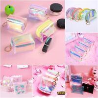 Girls Mini PINK Purse Laser Transparent PVC Wallet Zipper Coin Pouch Key Pocket