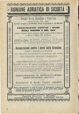 Stampa antica pubblicità RIUNIONE ADRIATICA DI SICURTA' 1889 Old antique print