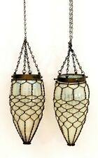 PAIR ANTIQUE OPALESCENT HANGING LIGHT SHADES WITH ORNATE BRAIDED WIRE WORK