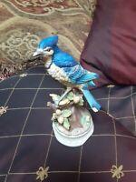 Towle Vintage Blue Jay Music Box Plays Beautifully Bone China Bird Acorns Neat