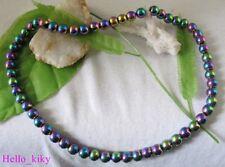 50 pcs rainbow Magnetic Hematite round Beads 8mm M3382