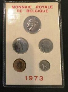 1973 BELGIUM - OFFICIAL SPECIMEN FLEUR DE COINS FDC SET (5) - FRENCH LEGEND