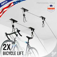 2 Packs Ceiling-Mounted Bike Lift Mountain Bicycle Hoist Garage Utility Hanging