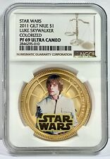 2011 STAR WARS GILT COIN NIUE $1 LUKE SKYWALKER COLORIZED NGC PF 69 ULTRA CAMEO
