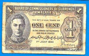 Malaya BRITISH P6 1 Cent KGVI Uniface Sign H Weisberg 01.07.1941 aXF SCARCE