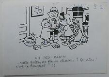 "Dibujo Antiguo Ilustración JACQUES PRUVOST c.1962 ""Un peu radin"" #8"