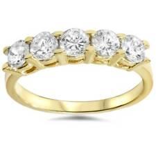 1 1/4 Ct De Diamante Casamento 14k Amarelo Ouro Anel De Aniversário 5-Stone altamente polido