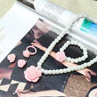 Girls Baby Kids Necklaces Bracelets Rings Ear Clips Imitation Pearls Jewelry ert